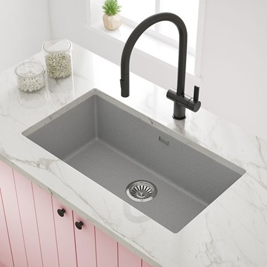 Vellamo Terra Extra Large 1 Bowl Graphite Grey Granite Composite Undermount Kitchen Sink & Waste Kit - 774 x 434mm
