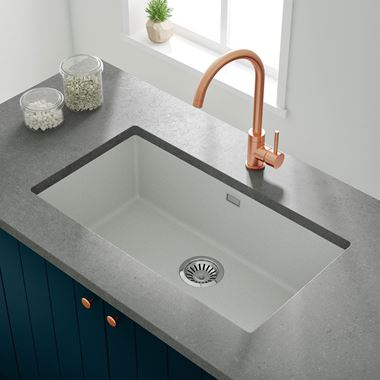 Vellamo Terra Extra Large 1 Bowl White Granite Composite Undermount Kitchen Sink & Waste Kit - 774 x 434mm