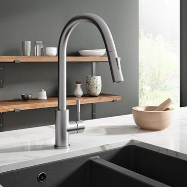 Vellamo Touch Control Single Lever Mono Pull Out Kitchen Mixer Tap - Brushed Nickel