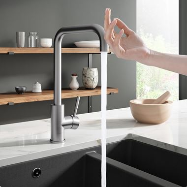 Vellamo Touch Control Single Lever Mono Kitchen Mixer Tap - Brushed Nickel