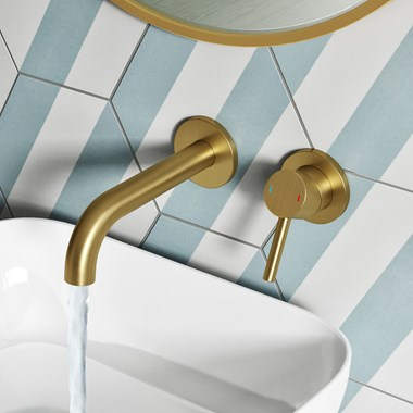 Vellamo Twist Brushed Brass Wall Mounted Basin Mixer