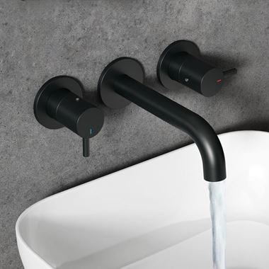 Vellamo Twist Matt Black 3 Hole Wall Mounted Basin Tap with Easy Plumb Installation Kit