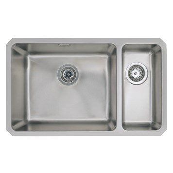 Vellamo Horizon Undermount 1.5 Bowl Stainless Steel Kitchen Sink & Waste Kit With Left Hand Main Bowl - 740mm x 450mm