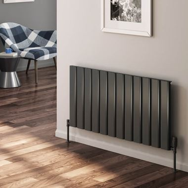 Reina Vicari Aluminium Single Panel Horizontal Designer Radiator - Anthracite