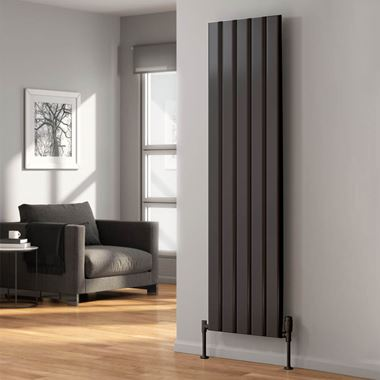 Reina Vicari Aluminium Double Panel Vertical Designer Radiator - Anthracite - 1800 x 300mm