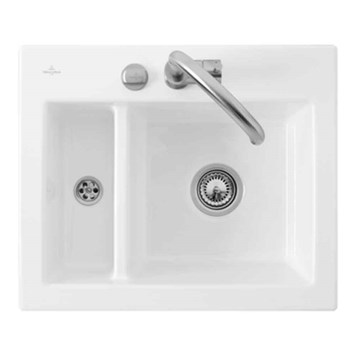 Villeroy & Boch Subway XM Alpine White Ceramic Plus 1.5 Bowl Top Mount Sink - 620 x 510mm