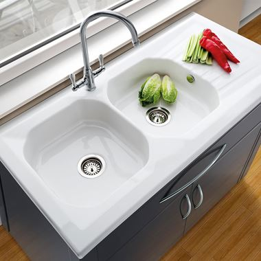 Villeroy & Boch Provence Ceramic Double Bowl Sink with Reversible Drainer - 1210mm x 610mm