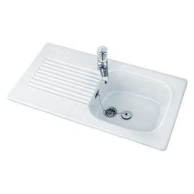 Villeroy & Boch Tudor Ceramic Single Bowl Sink with Reversible Drainer - 920 x 510mm