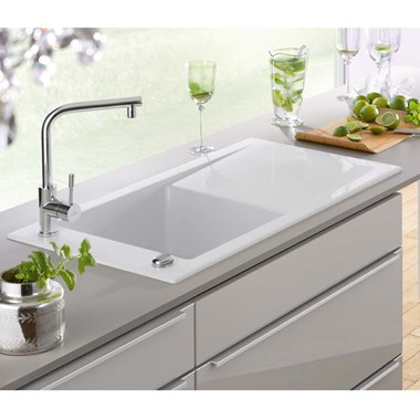 Villeroy & Boch Timeline 60 White Ceramic Single Bowl Sink & Drainer - Reversible