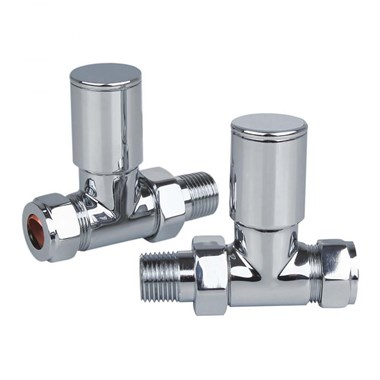 Brenton Angled Chrome Round Radiator Valves 15mm