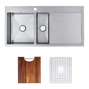 Astracast Vantage 1.5 Bowl Feature Sink Pack With Chrome Pop Up Wastes, Covered Overflows, Pipework, Chopping Board & Bowl Grid - Brushed Stainless Steel - Right Hand