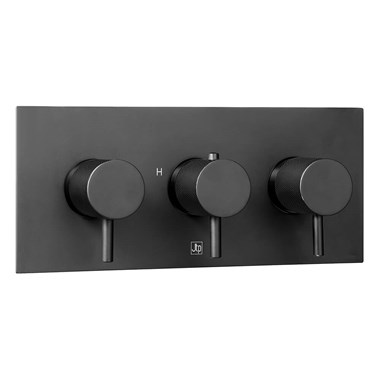 VOS 2 Outlet Concealed Thermostatic Shower Valve with Designer Handles - Matt Black ( 3 Handles)