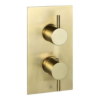 VOS 2 Outlet Concealed Thermostatic Bath & Shower Valve - Brushed Brass