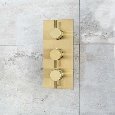 VOS 2 Outlet Concealed Thermostatic Shower Valve - Brushed Brass