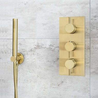 VOS 3 Outlet Portrait Concealed Thermostatic Shower Valve - Brushed Brass