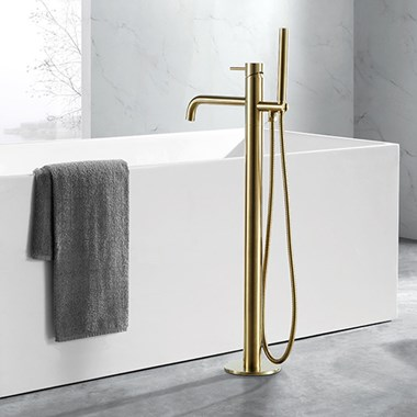 VOS Floorstanding Bath Shower Mixer - Brushed Brass