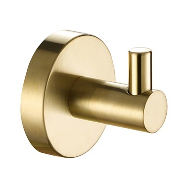 VOS Single Robe Hook - Brushed Brass
