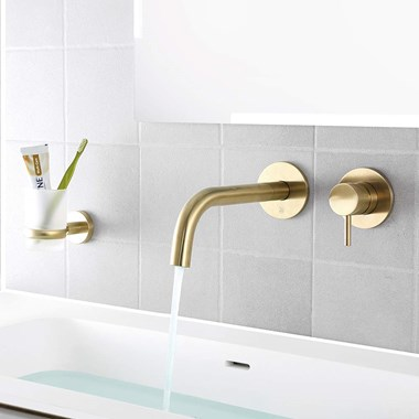 VOS Single Lever Wall Mounted Basin Mixer - Brushed Brass