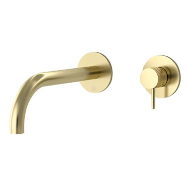 VOS Single Lever Wall Mounted Basin Mixer with Designer Handle - Brushed Brass