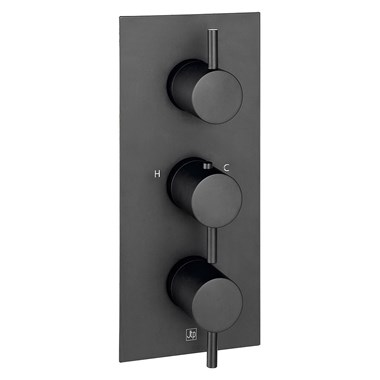 VOS 3 Outlet Portrait Concealed Thermostatic Shower Valve - Matt Black