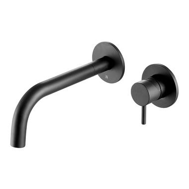 VOS Single Lever Wall Mounted Basin Mixer - Matt Black