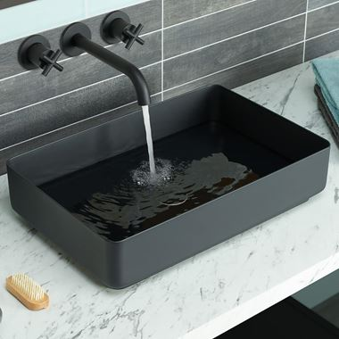 VOS Rectangular Stainless Steel Countertop Basin - Matt Black