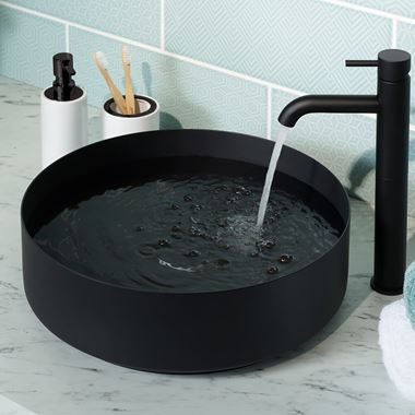 VOS Round Stainless Steel Countertop Basin - Matt Black