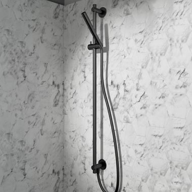 VOS Slide Rail Shower Kit with Shower Handset & Hose - Matt Black