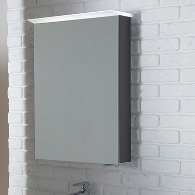 Roper Rhodes Virtue LED Illuminated Mirror Cabinet with Shaver Socket - Charcoal Elm