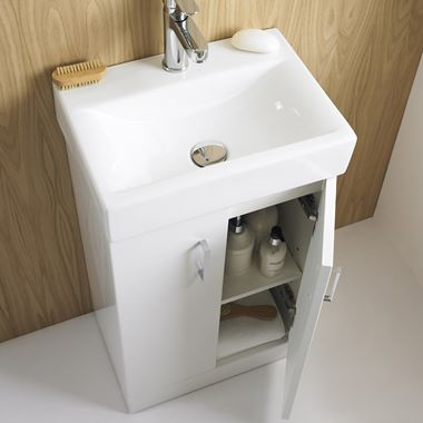 Premier Checkers Floorstanding White Gloss 450mm Vanity Unit & Basin