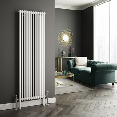 Butler & Rose Vertical Designer 2 or 3 Column Style White Radiator - 1800 x 560mm