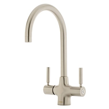 Caple Washington Twin Lever WRAS Approved Mono Kitchen Mixer - Brushed Nickel