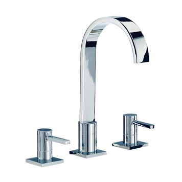 Mayfair Wave 3 Hole Basin Mixer Set with Pop-Up Waste