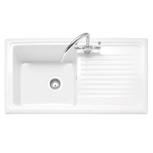 Caple Wiltshire 1 Bowl White Ceramic Kitchen Sink with Reversible Drainer - 1010 x 525mm