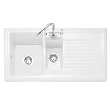 Caple Wiltshire 1.5 Bowl White Ceramic Kitchen Sink with Reversible Drainer - 1010 x 525mm