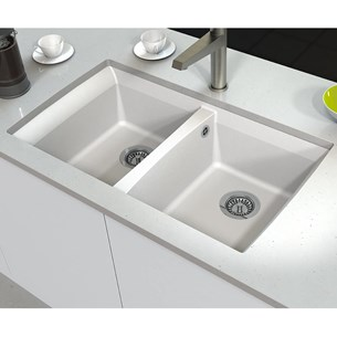 Astracast Woldside Double Bowl Granite ROK® Composite Undermount Sink & Waste Kit - 815 x 480mm