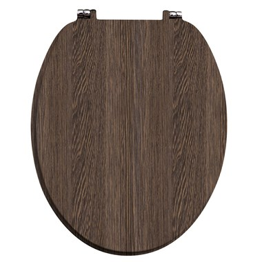 Harbour Dark Oak Vinyl Wrapped Soft Close Wooden Toilet Seat