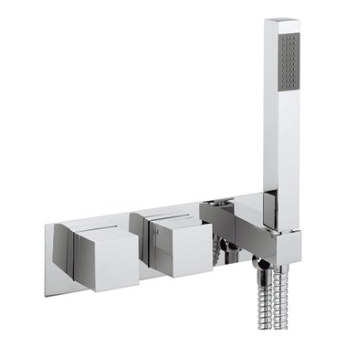 Crosswater Water Square Wall Mounted Thermostatic Shower Valve with Handset