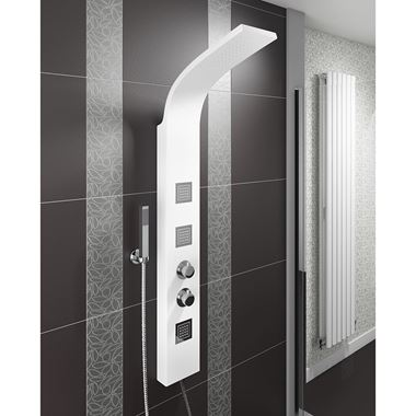 Vellamo Thermostatic White Shower Tower with Rainfall Head and Body Jets