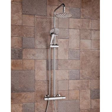 Vellamo Blade Round Thermostatic Exposed Shower System