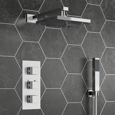 Drench Zachary Concealed Shower Valve, Fixed Head & Shower Handset Kit