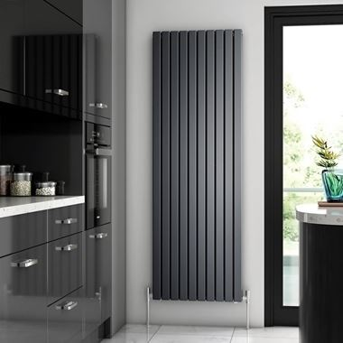 Brenton Flat Double Panel Vertical Radiator - Anthracite - 1800 x 590mm